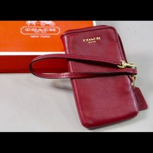 COACH Red Leather Wristlet/Phone Wallet